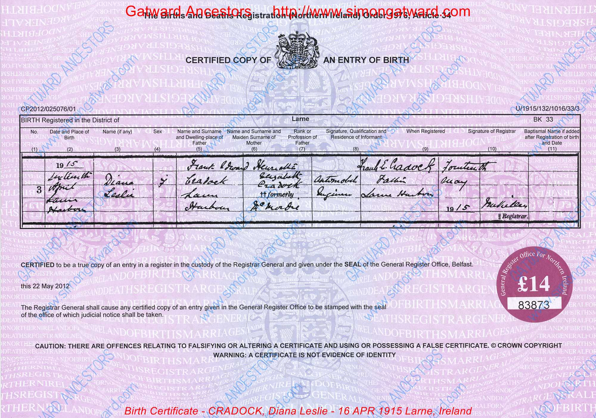 Birth certificate cradock diana leslie 16 apr 1915 - General register office birth certificate ...